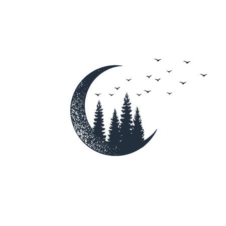 Ilustración de Hand drawn travel badge with crescent and fir trees textured vector illustrations. - Imagen libre de derechos