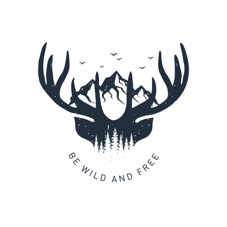 Ilustración de Hand drawn travel badge with deer antlers and mountains textured vector illustration and Be wild and free inspirational lettering. - Imagen libre de derechos