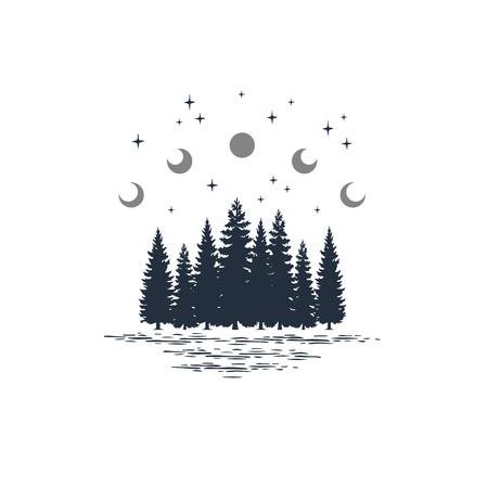 Illustration pour Hand drawn travel badge with fir trees and moon phases textured vector illustrations. - image libre de droit