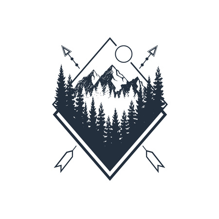 Illustration pour Hand drawn travel badge with fir trees and mountains textured vector illustrations. - image libre de droit
