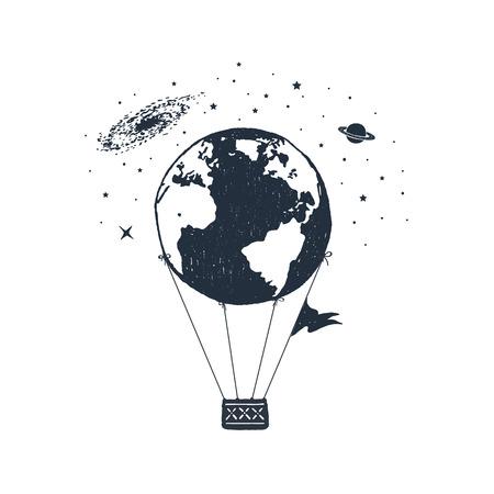 Ilustración de Hand drawn travel badge with Earth as a hot air balloon textured vector illustration. - Imagen libre de derechos