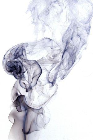 Foto per Fumo nero su sfondo bianco - Immagine Royalty Free