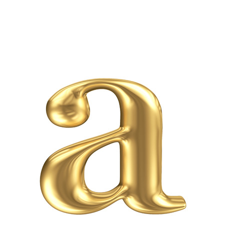 Golden matt lowercase letter a, jewellery font collection