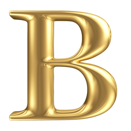 Golden matt letter B, jewellery font collection