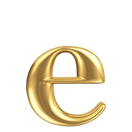 Golden matt lowercase letter e, jewellery font collection