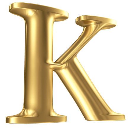 Golden matt letter K in perspective, jewellery font collection
