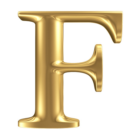 Golden matt letter F, jewellery font collection