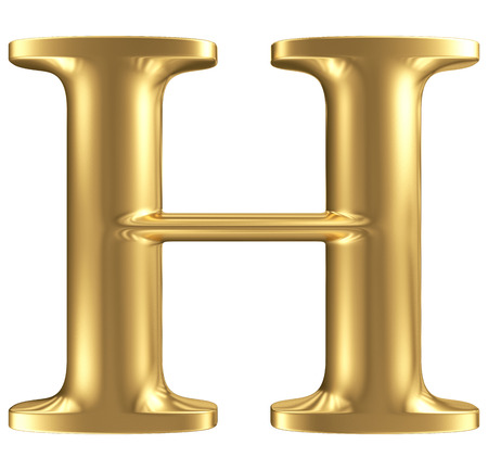 Golden matt letter H, jewellery font collection