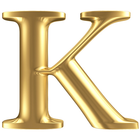 Golden matt letter K, jewellery font collection