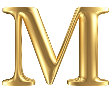 Golden matt letter M, jewellery font collection