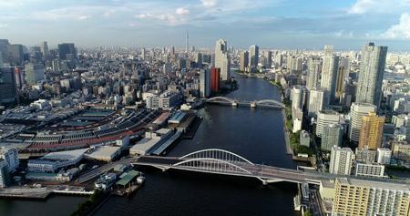 Photo pour tokyo bay in aerial view - image libre de droit