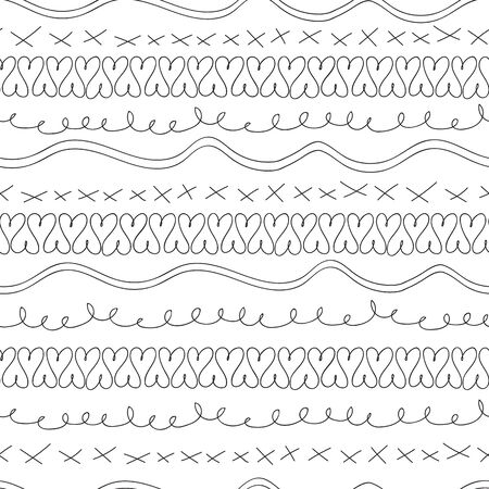 Vector hand drawn doodle art black and white squiggles, xs and hearts seamless pattern background.
