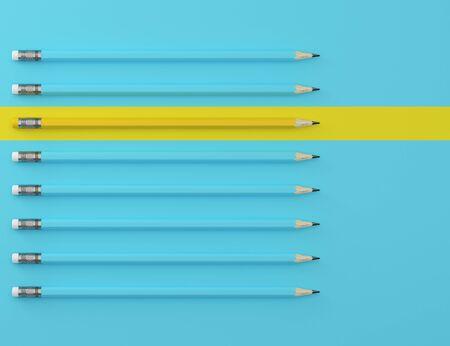 Photo pour Yellow pencil and blue pencil on blue pastel background. minimal creative concept. The idea about the business leadership, think different. - image libre de droit