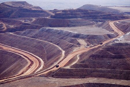 Coppermines with dumptrucks