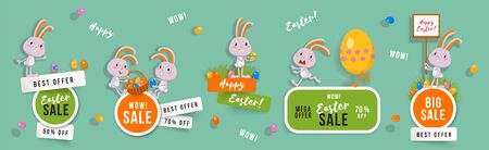 Illustration pour Easter sale set of banners with cute bunnies and Easter eggs. Isolated vector clip art with amusing rabbits for festive design and advertising - image libre de droit