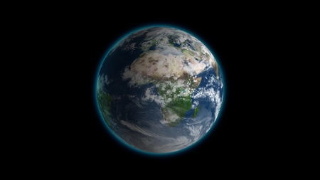 Foto de Realistic Earth Rotating on black Loop . Globe is centered in frame, with correct rotation in seamless loop. - Imagen libre de derechos