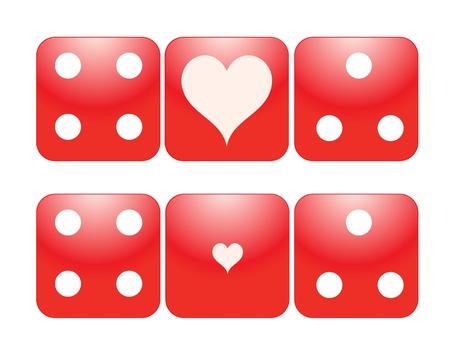 Two Pairs Red Dice with Large and Small Heart Ace, eps10