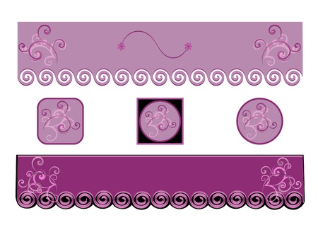 Two Purple Banners or Headliners with Buttons to Match