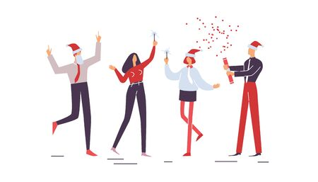 Merry Christmas. People jollify together. Collection of Happy workers having fun at corporate party with sparklers. Company celebrates new year. Holiday vector illustration EPS10 isolated on white