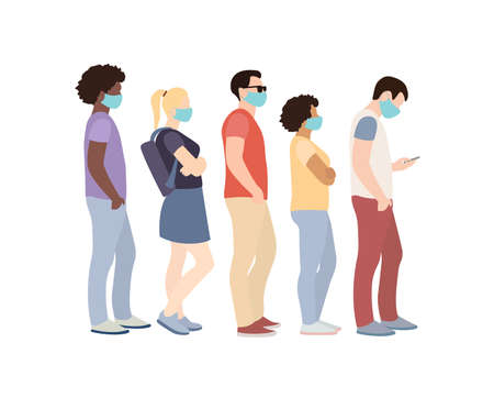 Illustration pour Full length of cartoon sick people in medical masks standing in line against white background. - image libre de droit
