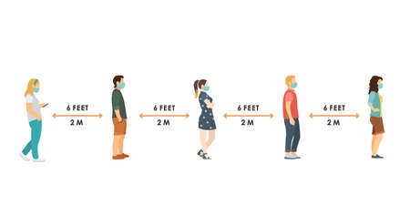 Illustration pour social distance. Full length of cartoon sick people in medical masks standing in line against at a safe distance of 2 meters or 6 feet. flat vector illustration. - image libre de droit