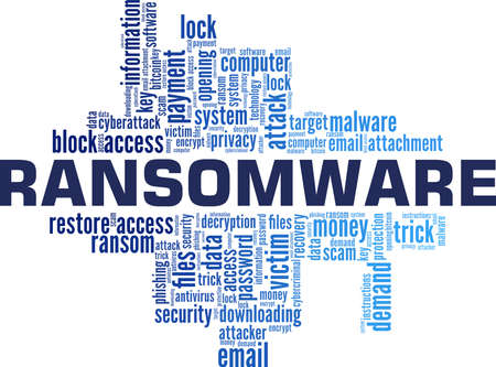 Illustration for Ransomware vector illustration word cloud isolated on a white background. - Royalty Free Image