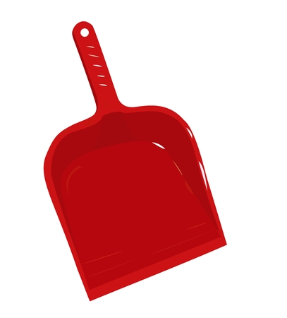 Red plastic scoop for dust - vector