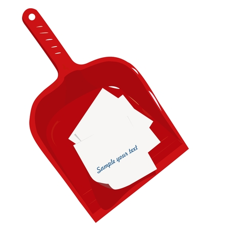 Red plastic scoop and sticker- vector
