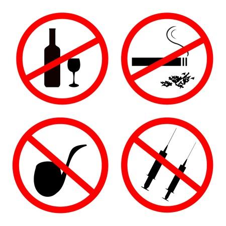 No smoking, No alcohol and no drugs signposts