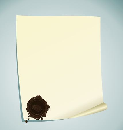 Illustration of paper with brown wax sealing - vector