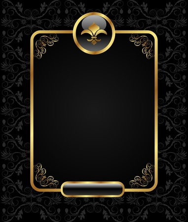 Illustration royal background with golden frame - vector