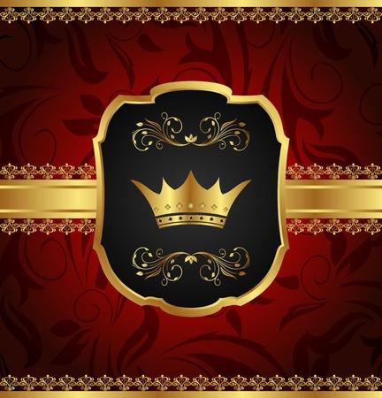 Illustration golden vintage frame with crown - vector