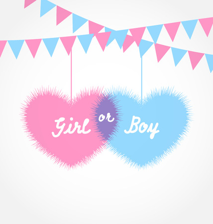 Illustration for Illustration pink and blue baby shower in form hearts with hanging pennants - vector - Royalty Free Image