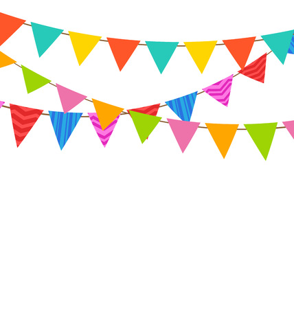 Illustration for Illustration Set Bunting Pennants with Ornamental Texture - Royalty Free Image