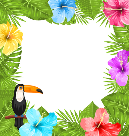 Illustration pour Illustration Exotic Jungle Frame with Toucan Bird, Colorful Hibiscus Flowers Blossom and Tropical Leaves, Copy Space for Your Text - Vector - image libre de droit
