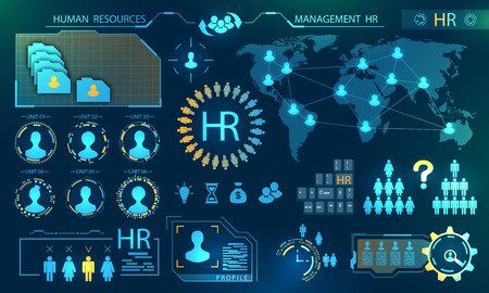 Illustration pour HUD Elements of Search Human Resources. Profile, Resume, Candidate, Analytics of Select Leader of Teamwork concept - image libre de droit