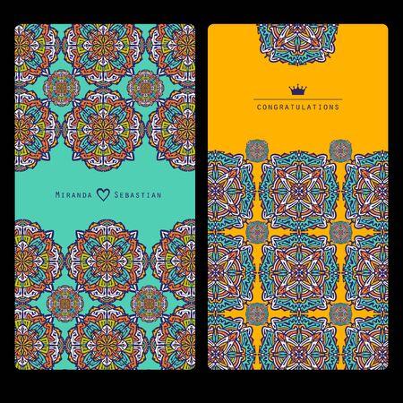 Illustration pour Collection mandala cards. Wedding invitation. - image libre de droit