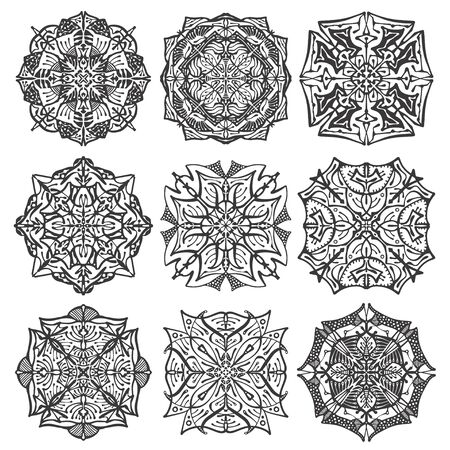 Illustration pour Collection mandala on white isolated background. Antistress coloring book. - image libre de droit