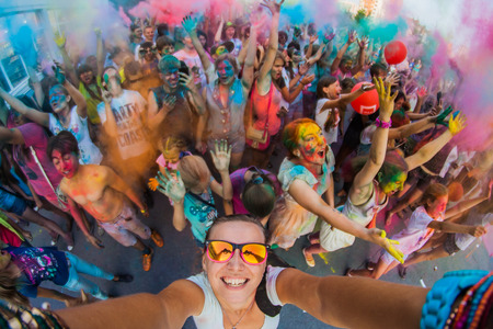 A group of a young people on the festival of colors Holi in Russia, Novokuznetsk. Selfie.