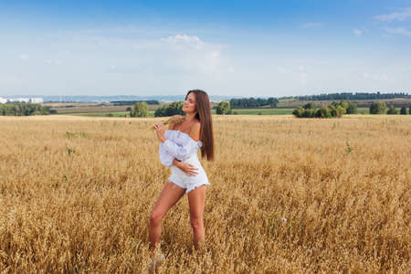 Photo pour Rural Countryside Scene. Young beautiful woman with long hair dressed in white relaxing at golden oat field. Summer landscape with blue sky - image libre de droit