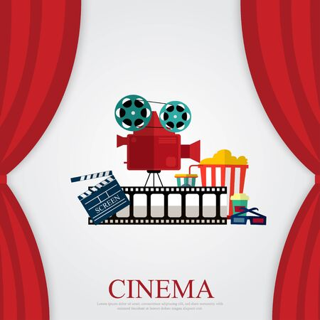 Reds curtains and film object with popcorn, soda and eyeglasses