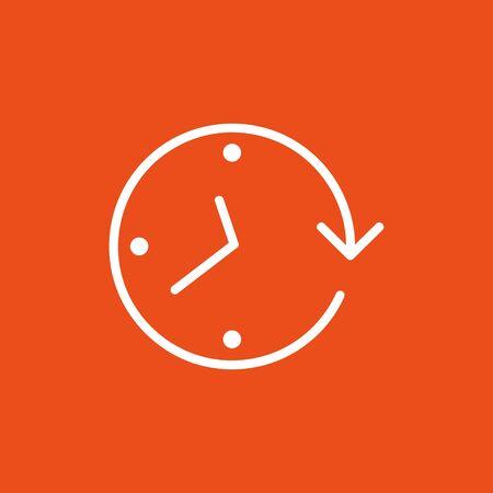 Clock arrow on the orange background