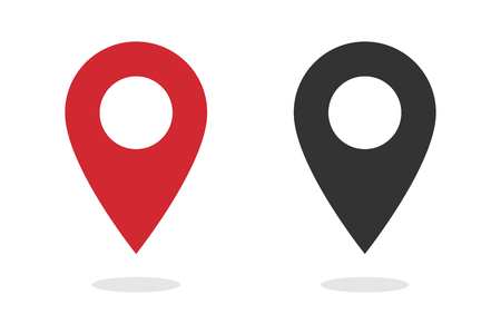 Illustration pour Pin - Vector icon location pin. Map pin icon red and black color - image libre de droit