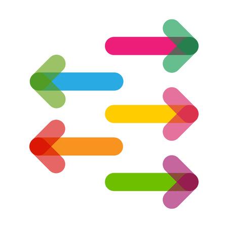 Ilustración de Colorful Arrows in trendy flat style with transparency - Imagen libre de derechos
