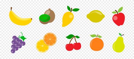 Illustration pour Fresh juicy fruit and berries in flat style on transparent background - image libre de droit