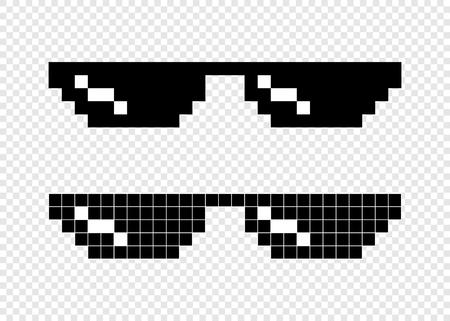 Illustration pour Glasses pixel 8-bit on transparent background - image libre de droit