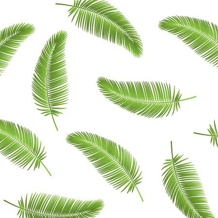 Illustration pour Palm leaf seamless pattern background. Palm leaves background. Realistic palm leaf. Leaves palm on blank background. Eps10 - image libre de droit