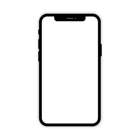 Illustration pour Black Mobile phone with white screen. Phone mockup. Mobile phone on white background. Smartphone isolated. Smartphone with shadow isolated. Eps10 - image libre de droit