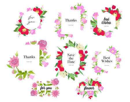 Photo pour Card for spring season with white frame and herb. Promotion offer with plants, leaves and flowers decoration. Vector - image libre de droit