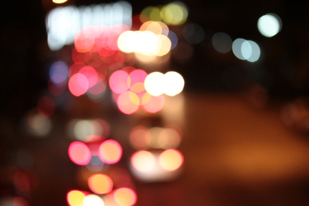 Night city street lights bokeh background ,Defocused background
